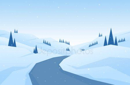 Winter Snowy Flat Cartoon Mountains Landscape With Road Hills And Pines Christ Ad Cartoon Mountai Cartoon Mountain Winter Landscape Mountain Landscape