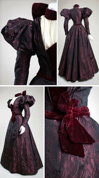 theblacklacedandy: cimetiere-chanson: Afternoon dress ca. Made and worn by Ora Baily McCuthen, a concert pianist in San Diego. She was the daughter of James O. Baily, one of the first men to discover gold in the Juli 1890s Fashion, Edwardian Fashion, Vintage Fashion, Fashion Goth, Modern Victorian Fashion, Vintage Gowns, Mode Vintage, Vintage Outfits, Vintage Hats