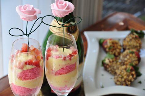 Strawberries, Strawberry Cake, and Vanilla Pudding :-)