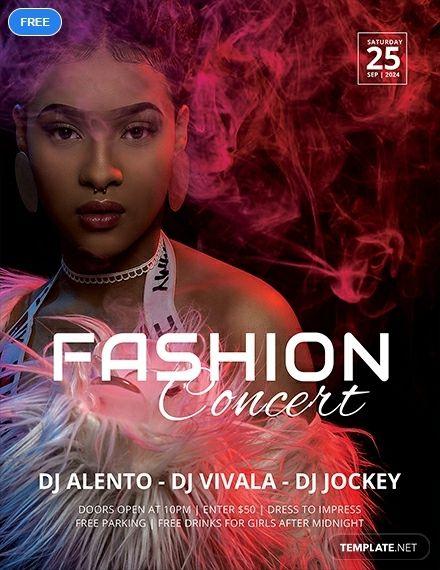 Free Fashion Concert Flyer Concert Flyer Flyer Template Flyer