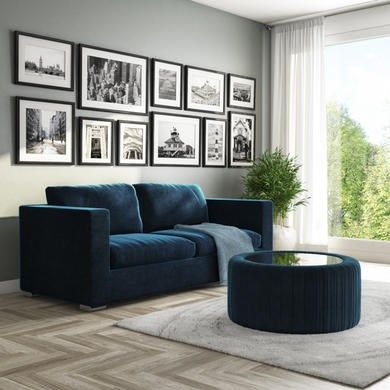 Navy Blue Velvet Ottoman Storage Pouffe With Glass Top Coffee Table Clio Furniture123 In 2020 Blue Velvet Sofa Living Room Dark Blue Living Room Blue Velvet Sofa