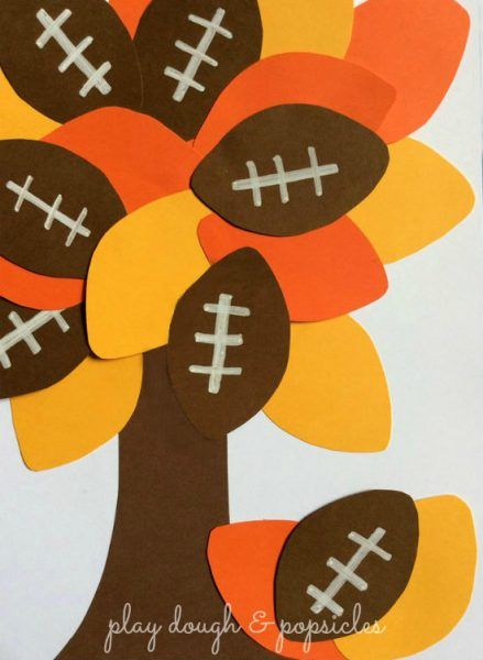 Now here's a twist on a fall tree that all football fans and kiddos are sure to enjoy. Colors and fine-motor skills for preschoolers. Add a writing element for Grade K and up.