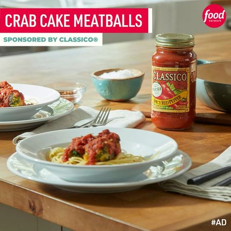 #ad If you like crab cakes, turn them into little meatballs simmered in a spicy tomato sauce! Sponsored by Classico®.