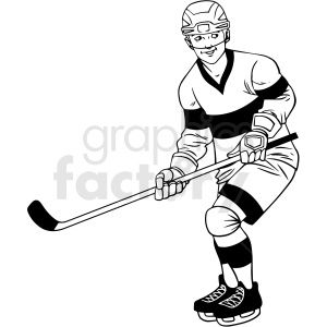 Black And White Hockey Player Waiting For Puck Clipart Design In 2020 Clipart Design Clip Art Hockey Players