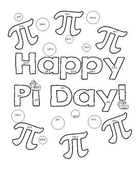 Pi Day Area Of Circles Color Page Activity Happy Pi Day Pi Day