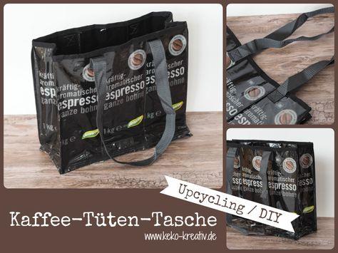 DIY Nähanleitung für eine Tasche aus Kaffeetüten - Kaffeetuetentasche von Keko-Kreativ