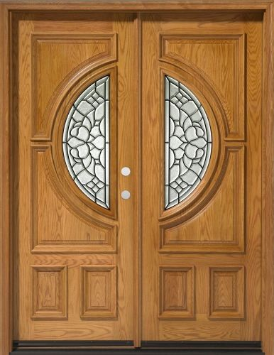 Solid Wood Red Oak 30 Center Moon Exterior Double Door Unit