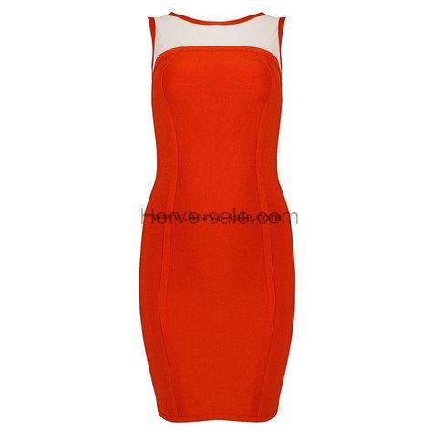 Herve Leger Orange Mesh Boat-neck Bandage Dress HL044O