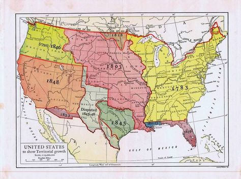 Map United States Territorial Growth 1910   Map, Historical ...