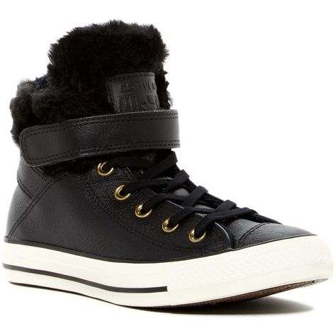 Converse Chuck Taylor Leather Fur Lined Black High Top