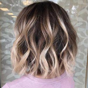 Dark Blonde Balayage Short Hair Short Hair Balayage Lob Haircut Brown Hair With Highlights