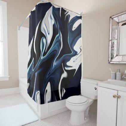 Abstract Elegant Fluid Liquid Marble Flow Texture Shower Curtain Zazzle Com Custom Shower Curtains Navy Shower Curtain Shower Curtain