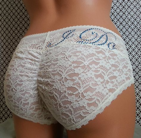 Bridal panties Ivory cutie booty  w/ something by BluIntimates, $24.00