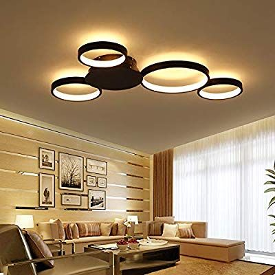 Lightinthebox Dimmable With Remote Control Led 4 Ring Ceiling Lighting Fixtur Modern Living Room Lighting Ceiling Lights Living Room Ceiling Design Living Room