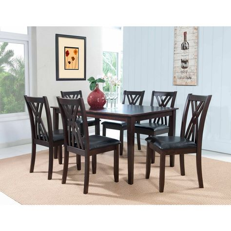 Masten Collection 7 Piece Dining Table and Chairs with Oversized Block Tapered Legs Black Faux Leather Seat and Arced X-Style Chair Backs in Espresso Finish