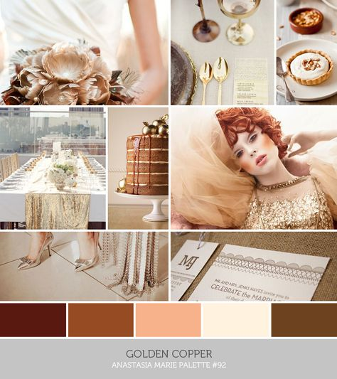 see blog post for image credits… inspiration board: golden copper #brown #tan #ivory #gold #bronze