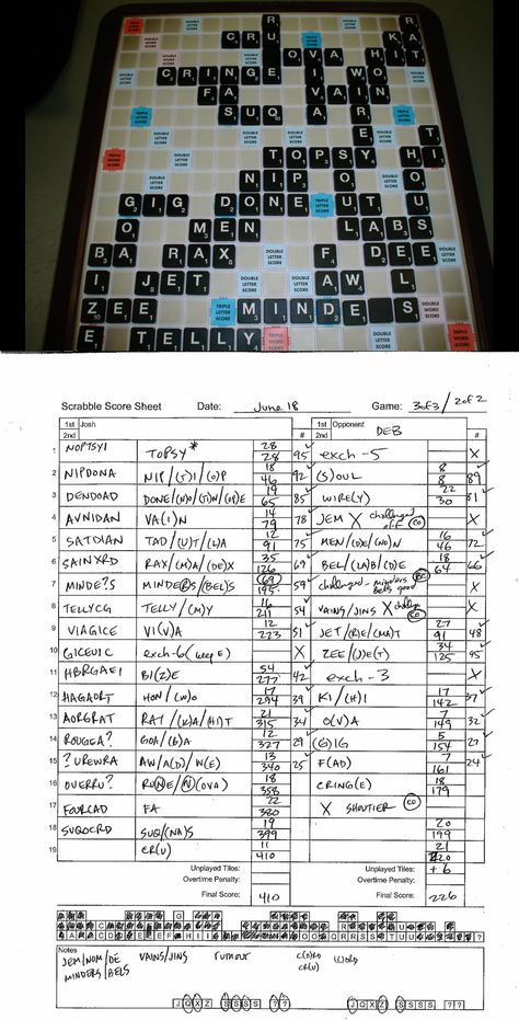 Game 005 #Deb 410-226 WIN 06-18-08 #Scrabble Joshu0027s Tournament - scrabble score sheet