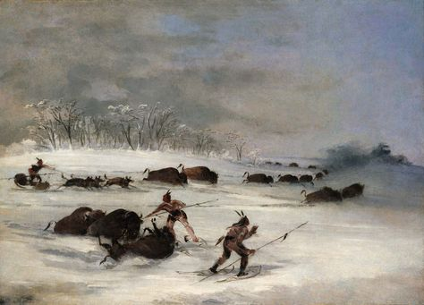 """Aaron Estes,of Black Hills, picked George Catlin's Sioux Indians on Snowshoes Lancing Buffalo to accompany their performance. Estes:""""It reminds me very much of growing up in western South Dakota. Not that we chased buffalo around, but a lot of the local art focused on similar themes and styles. Plus it looks like home. It's cold and isolated, and ruthless, but beautiful. It sort of takes my mind away, and I like feeling that isolated beauty. I try to make music that makes me feel the same way."""""""