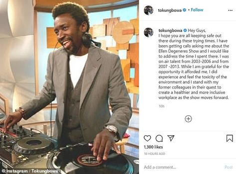 Former DJ on The Ellen DeGeneres Show Tony Okungbowasaid he 'did feel the toxicity of the...