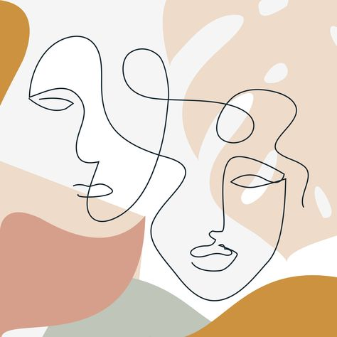 #abstract modern art #faces outline collage #fashionable wall art #minimalistic style face #abstract faces #continuous line drawing #oneline art #woman and man face