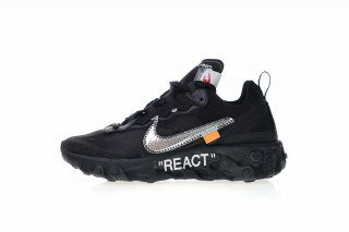 e33d42a7ad429 Off white x Nike Upcoming React Element 87 Black Silver Orange AQ0068-001  Women s Men s Running Shoes Sneakers