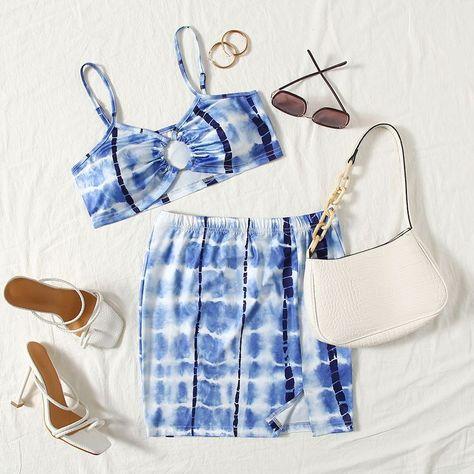 Ring Linked Tie Dye Crop Cami Top  Split Hem Bodycon Skirt Set