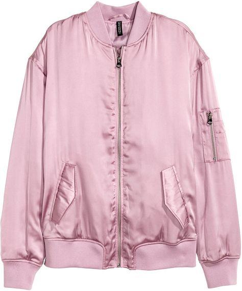 H M Satin Pilot Jacket Dusty Pink Ladies Pilotenjacke Piloten Jacke Bomberjacke