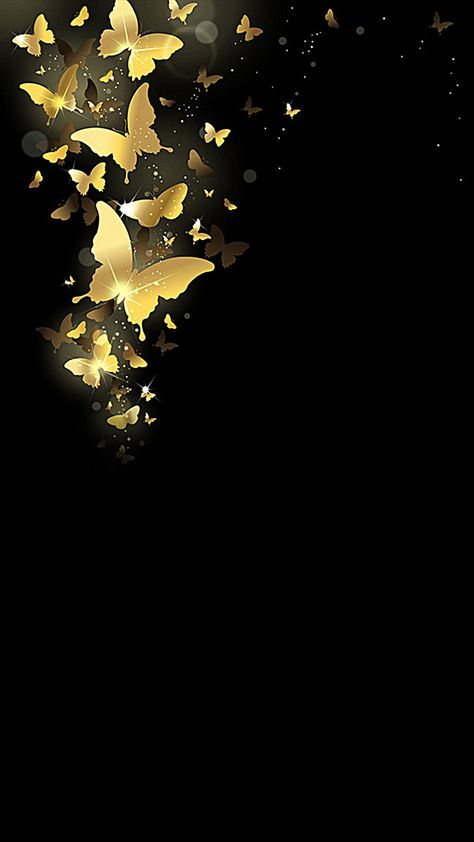 Atmospheric black background gold butterfly