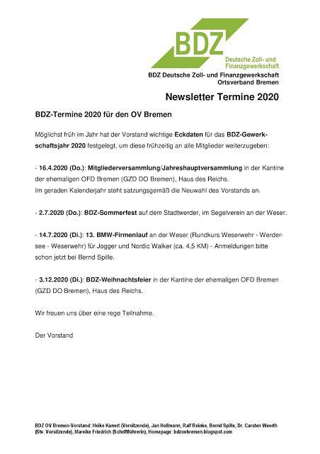 Bdz Deutsche Zoll Und Finanzgewerkschaft Ortsverband Bremen Bdz Ov Bremen Newsletter Termine 2020 In 2020 Bremen Finanzen Vorstand