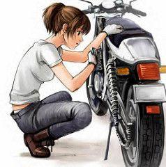 Girlworkingonbike 5 Tomboy Art Anime Motorcycle Motorcycle Illustration