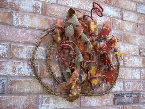 Fall Wreath, Autumn Wreath, Pumpkin Wreath, Thanksgiving Wreath, Rustic Fall Wreath with burlap bow and grapevine pumpkin