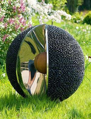 Beau Garden Sphere Sculpture: Black Stone Outdoor Spheres With Stainless Steel
