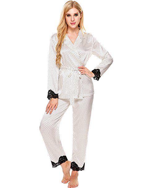new arrival 0517b 70f02 Ekouaer Schlafanzug damen satin Spitze Pyjama set ...