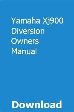 Yamaha Xj900 Diversion Owners Manual Owners Manuals Manual Outboard