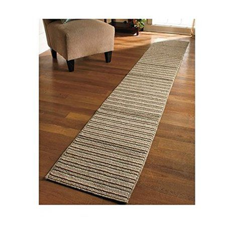 New 20 Quot X 120 Quot Sand Colored Striped Extra Long Nonslip Floor Runner Rug Made In Usa Walmart Com Rug Runner Rugs On Carpet Stair Runner Carpet
