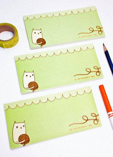 Knit Cat Paper Goods Cat Notepad Knitter Notepad By Boygirlparty