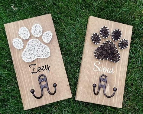 Bastelideen String Art Paw Print Leash Holder Personalized It's Madonna vs. Dog Crafts, Diy And Crafts, Arts And Crafts, String Art Diy, String Art Heart, Diy Wall Art, Diy Wall Decor, String Art Patterns, Doily Patterns