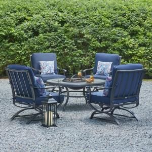 Redwood Valley Steel 5 Piece Patio Fire Pit Seating Set With Rock Midnight Cushions Furniture Essentials Sets
