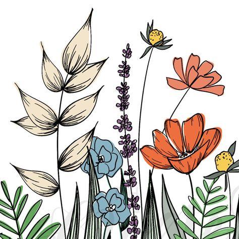 Wildflowers Line Drawing Wall Decor Botanical Illustration image 2
