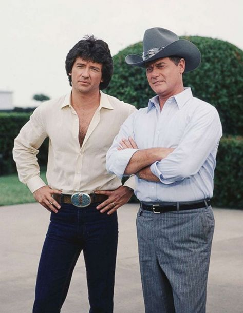 PHOTO: Patrick Duffy and Larry Hagman pictured in an unidentified episode of CBS TV show Dallas in 1979. #tvshow #sitcoms #tv #show
