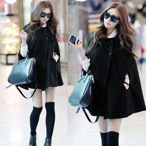 Cheap poncho men, Buy Quality poncho wool coat directly from China poncho wool Suppliers: Korea Women Charming Winter Casual Cloak Coat Cape Poncho Wool Warm Jacket
