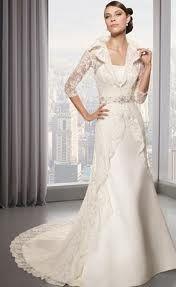 Lace Coat Wedding Dress