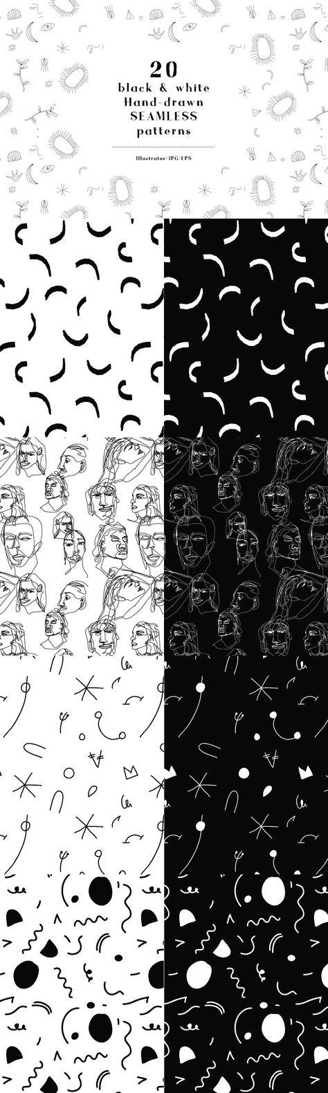 20 B&W hand drawn SEAMLESS PATTERNS