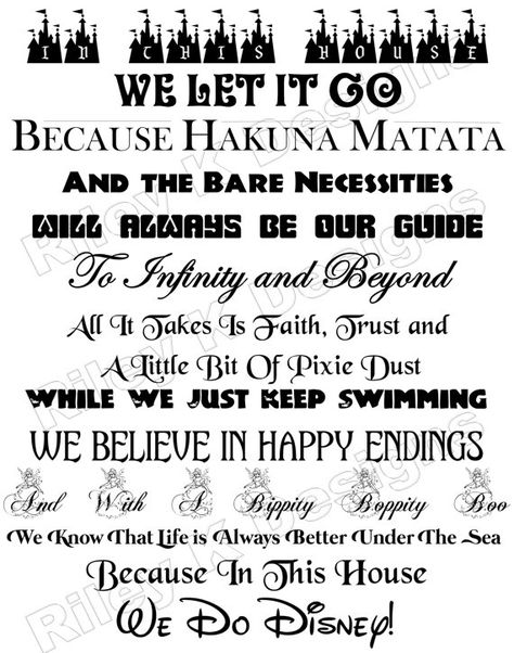 In This House We Do Disney Quote Sign Digital by RileyKDesigns