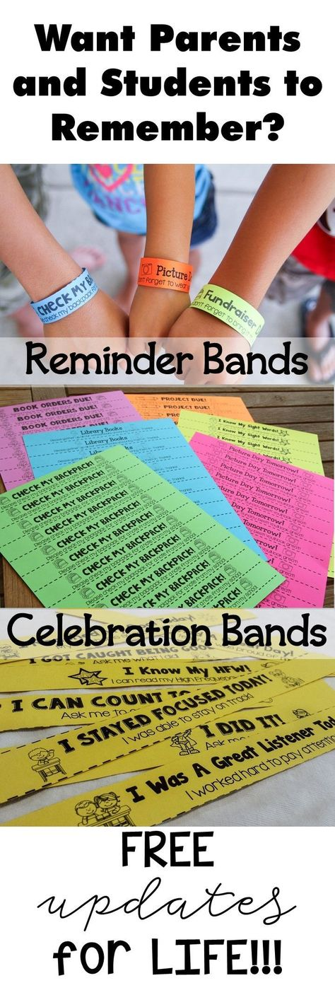 The EASIEST way to get students to remember important dates. Never have students forget to bring back forms or relay a message to their parents. These bright bands will be a reminder to the parents WITHOUT the students having to say a thing! #classroommanagement #backtoschool