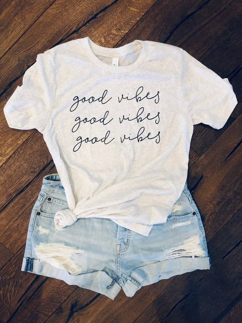 Your place to buy and sell all things handmade Vinyl Shirts, Mom Shirts, Cute Shirts, T Shirts For Women, Cute Summer Outfits, Cute Outfits, Good Vibes Shirt, Lake Pictures, Diy Shirt