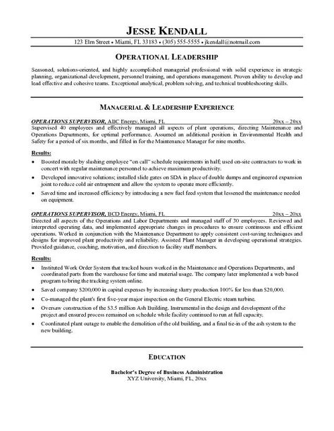 RESUME SAMPLE #5 FONTS Pinterest Fonts - operations supervisor resume