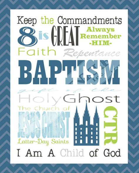 LDS Baptism Gift Subway Art Printable 8x10 5 Designs Included ...