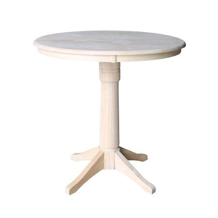 36 Inch Round Pedestal Counter Height Table Unfinished Brown