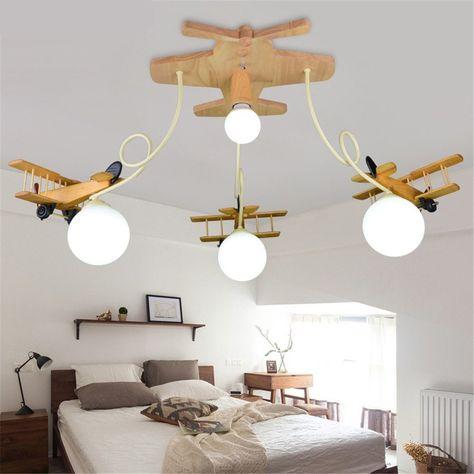 Pilotenzimmer Massivholz Flugzeug Lampe Led Kinderzimmer